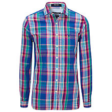 Buy Gant Malibu Check Long Sleeve Shirt, Luminary Blue Online at johnlewis.com