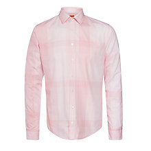 Buy BOSS Orange Extremee Tonal Check Shirt, Peach Online at johnlewis.com