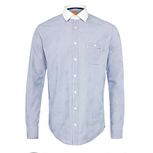 Buy BOSS Orange Eslime Fine Check Shirt, Blue Online at johnlewis.com