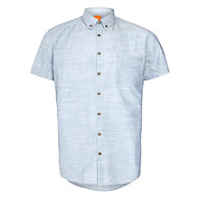 Buy BOSS Orange Erollese Short Sleeve Linen Shirt, Blue Online at johnlewis.com