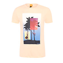 Buy BOSS Orange Temto Palm Print T-Shirt, Peach Online at johnlewis.com