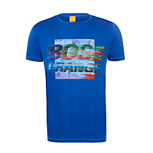 Buy BOSS Orange Tavey 1 Dynamic Logo T-Shirt, Blue Online at johnlewis.com
