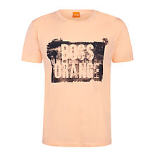 Buy BOSS Orange Temyo Logo Print T-Shirt, Peach Online at johnlewis.com