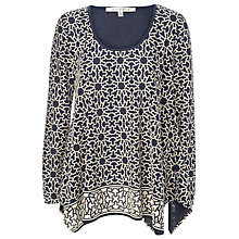 Buy Max Studio Knit Devore Top, Navy/Bone Online at johnlewis.com