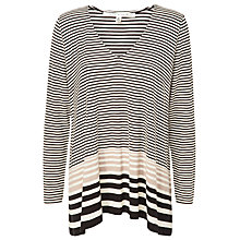 Buy Max Studio Stripe V-neck Jumper, Black/Toast Online at johnlewis.com