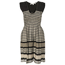 Buy Max Studio Smocked Jacquard Dress, Black/Teal Online at johnlewis.com