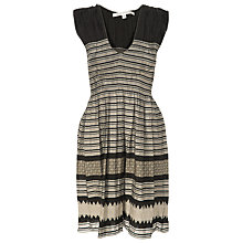 Buy Max Studio Smocked Jacquard Dress, Black/Taupe Online at johnlewis.com