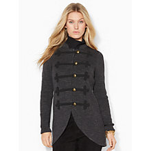 Buy Lauren Ralph Lauren Military Mockneck Cardigan, Black Online at johnlewis.com