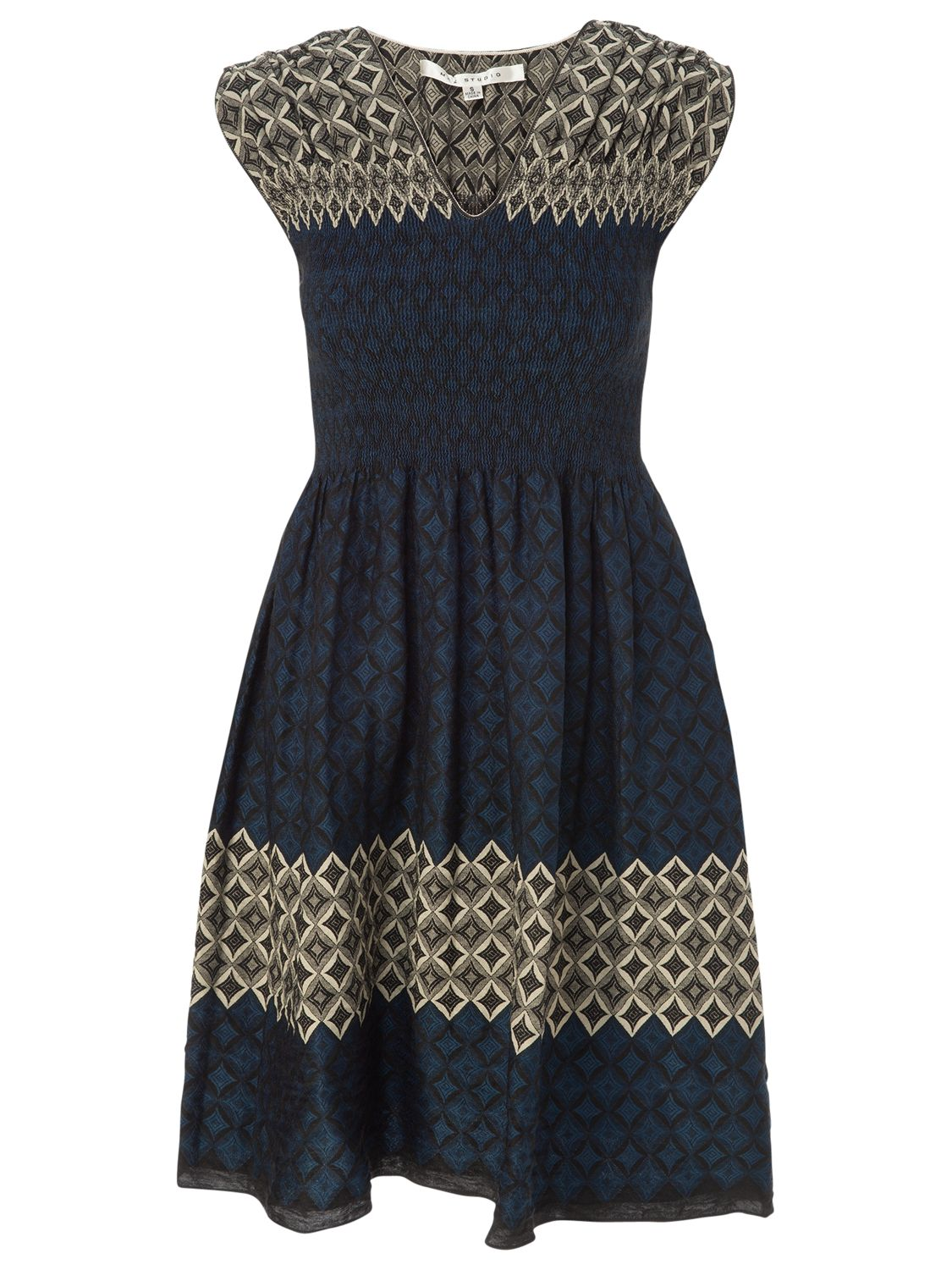 max studio smocked jacquard dress black/blue, max, studio, smocked, jacquard, dress, black/blue, max studio, s|m|xs|l, women, womens dresses, 1771799