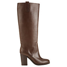 Buy Jigsaw Samantha Suede Knee High Boots, Chocolate Online at johnlewis.com