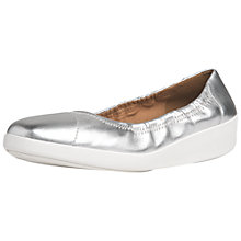 Buy Fitflop F-Pop Ballerina Wedge Heeled Pumps, Silver Leather Online at johnlewis.com