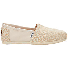 Buy TOMS Whisper Classic Plimsolls, Natural Online at johnlewis.com