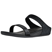 Buy Fitflop Banda Crystal Wedge Heeled Leather Sandals, Black Online at johnlewis.com