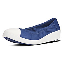 Buy Fitflop F-Pop Ballerina Wedge Heeled Pumps, Blue Online at johnlewis.com