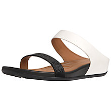 Buy FitFlop Banda Crystal Slide Leather Sandals, Black/White Online at johnlewis.com