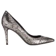 Buy Jigsaw Natalya Leather Court Shoes, Silver Online at johnlewis.com