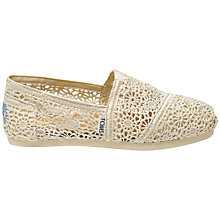 Buy TOMS Original Classic Crochet Plimsolls, Natural Online at johnlewis.com