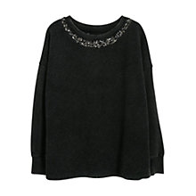 Buy Violeta by Mango Jacquard Jumper, Black Online at johnlewis.com
