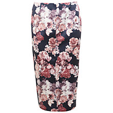Buy Miss Selfridge Satin Floral Pencil Skirt, Black/Pink Online at johnlewis.com