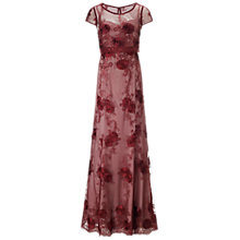 Buy Ariella Clair Embellished Lace Long Dress, Claret/Nude Online at johnlewis.com