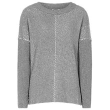 Buy Reiss Cara Metallic Cable Knit Jumper, Grey Online at johnlewis.com