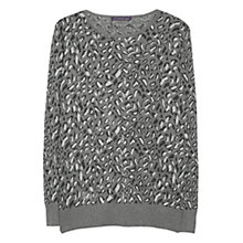 Buy Violeta by Mango Leopard Cotton Jumper, Light Pastel Grey Online at johnlewis.com