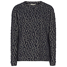 Buy Reiss Drake Textured Jersey Top, Navy/Gold Online at johnlewis.com