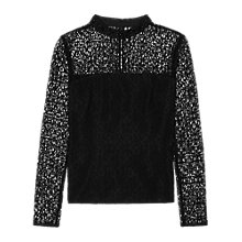 Buy Reiss Turenne Beaded Lace Top, Black Online at johnlewis.com