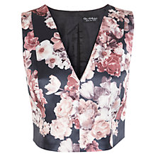 Buy Miss Selfridge Satin Floral V Neck Top, Black/Pink Online at johnlewis.com