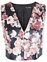 Miss Selfridge Satin Floral V Neck Top, Black/Pink