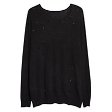 Buy Violeta by Mango Embellished Wool Blend Jumper, Black Online at johnlewis.com