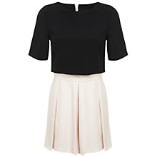 Buy Miss Selfridge Overlay Pleat Playsuit, Black Online at johnlewis.com