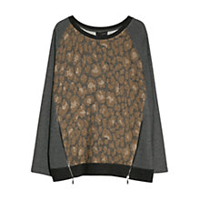 Buy Violeta by Mango Zip Detail Leopard Print Jumper, Multi Online at johnlewis.com