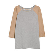 Buy Violeta by Mango Faux Suede Contrast Jumper, Grey/Camel Online at johnlewis.com