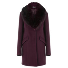 Buy Warehouse Fur Collar Coat, Dark Red Online at johnlewis.com