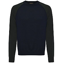 Buy Jaeger Wool Colour Block Jumper, Navy Online at johnlewis.com