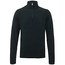 Buy Jaeger Lambswool Half Zip Jumper, Black/Green Online at johnlewis.com