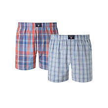 Buy Gant Multi Check Cotton Boxer Shorts, Pack of 2, Multi Online at johnlewis.com