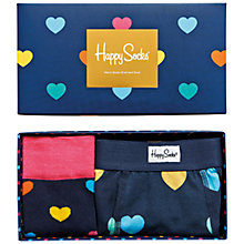 Buy Happy Socks Heart Boxer and Socks Gift Set, Multi Online at johnlewis.com