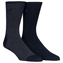 Buy Calvin Klein Fine Stripe Socks, Pack of 2, Navy Online at johnlewis.com