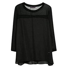 Buy Violeta by Mango Sheer Panel Blouse, Black Online at johnlewis.com