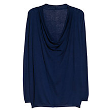 Buy Violeta by Mango Draped Neck Jumper, Navy Online at johnlewis.com
