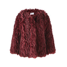Buy Jigsaw Knitted Sheepskin Jacket, Burgundy Online at johnlewis.com