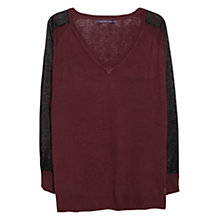 Buy Violeta by Mango Blonde Lace Detail Jumper, Dark Red Online at johnlewis.com