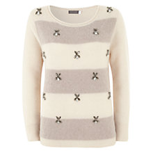 Buy Mint Velvet Embellished Jumper, Mink/Ecru Online at johnlewis.com