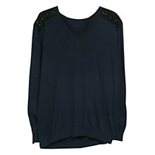 Buy Violeta by Mango Beaded Shoulder Jumper, Medium Blue Online at johnlewis.com