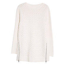 Buy Violeta by Mango Zip Hem Detail Jumper, Natural White Online at johnlewis.com