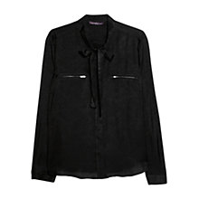 Buy Violeta by Mango Snake Pattern Blouse, Black Online at johnlewis.com
