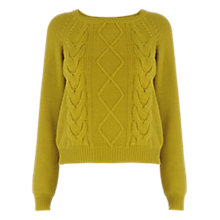 Buy Oasis Crop Cable Jumper, Lime Green Online at johnlewis.com