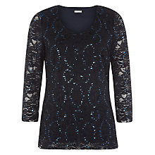 Buy Planet Lace Top, Navy Online at johnlewis.com